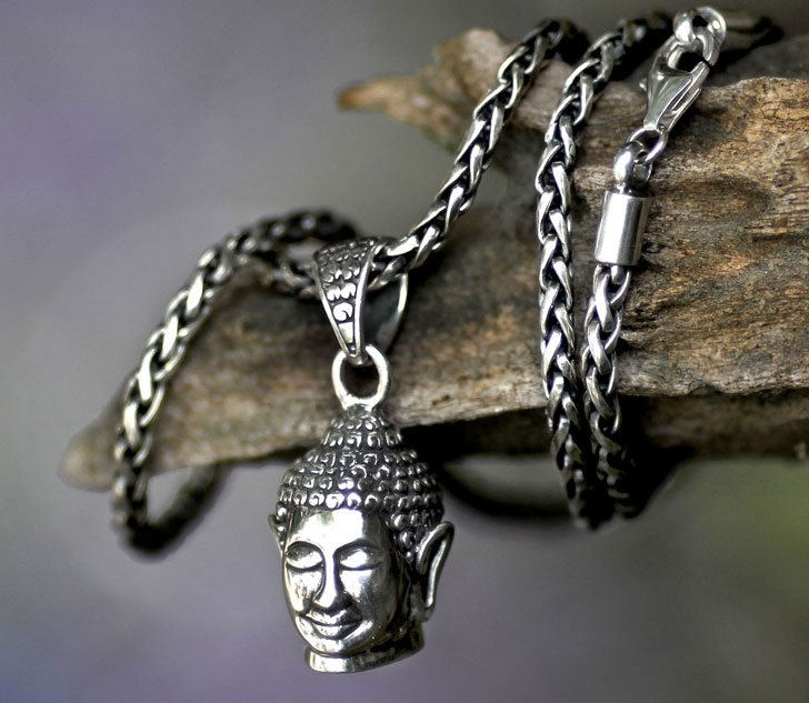 Sterling Silver Smiling Buddha Pendant