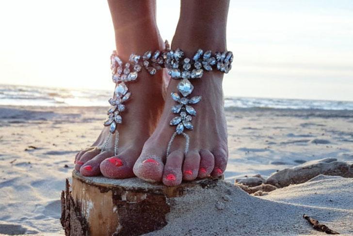 Swarovski Crystal Barefoot Bridal Sandals