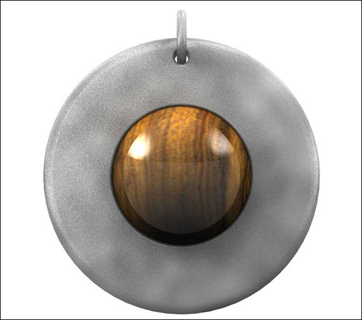 Titanium and Iron Wood Globe Pendant