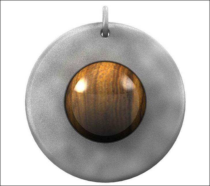 Titanium and Iron Wood Globe Pendant