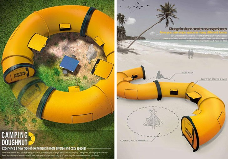 the camping doughnut concept tent - coolest tents for camping