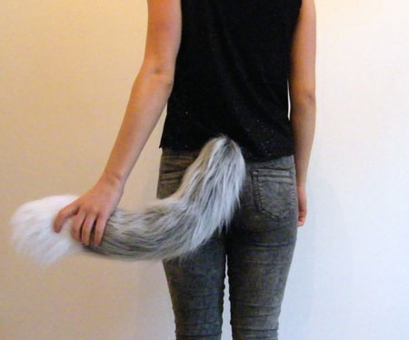 Grey Wolf Fox Fur Clip On Tail