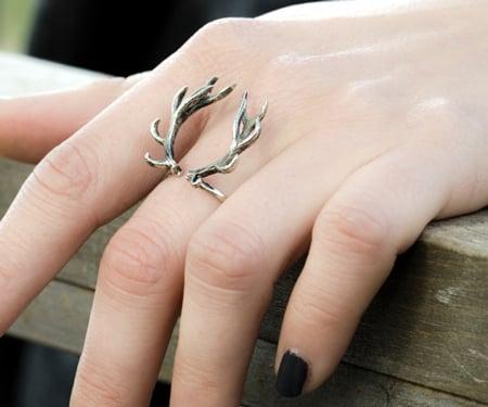 Silver Deer Antler Ring