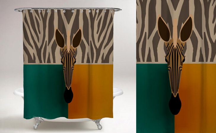 Abstract African Zebra Shower Curtain