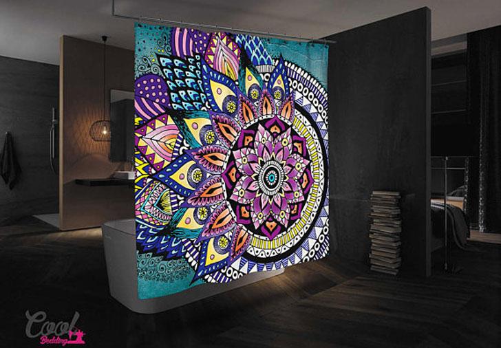 Asymmetric Bohemian Mandala Shower Curtain