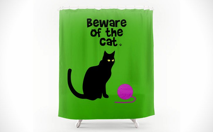 Beware Of The Cat Shower Curtain