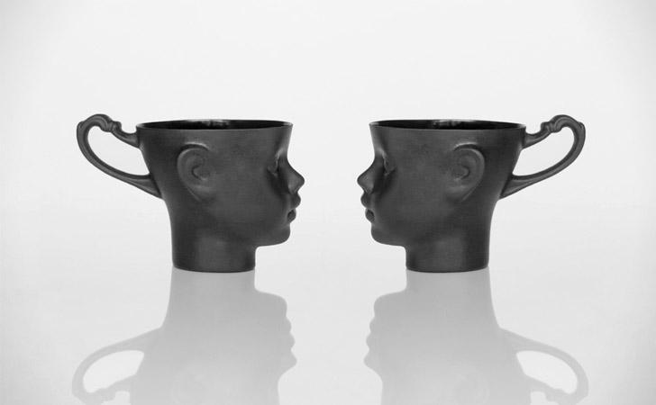 Black Porcelain Doll Head Mugs