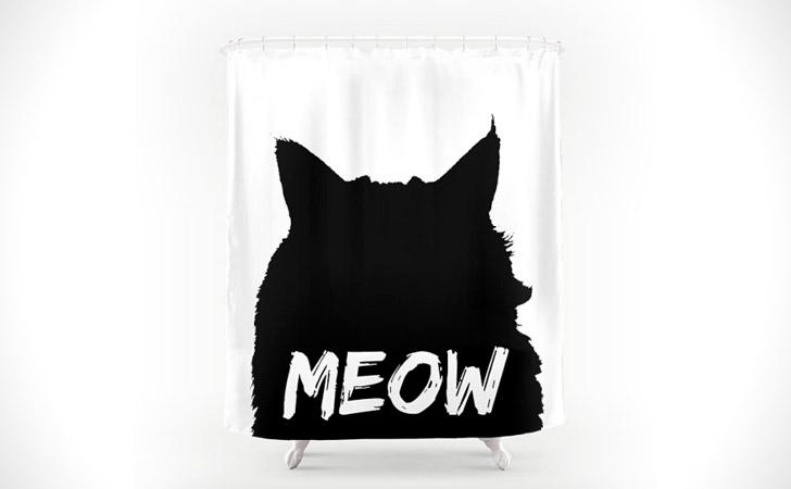 Black & White Meow Cat Shower Curtain