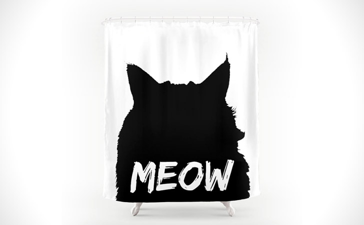 Black & White Meow Cat Shower Curtain