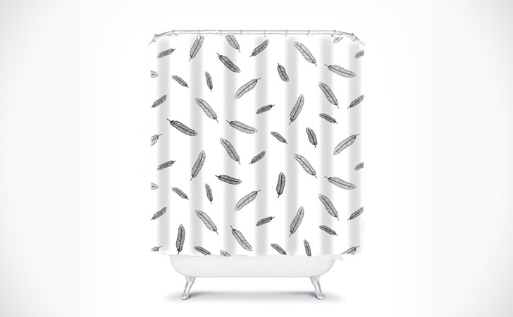 Boho Chic Style Feather Shower Curtain
