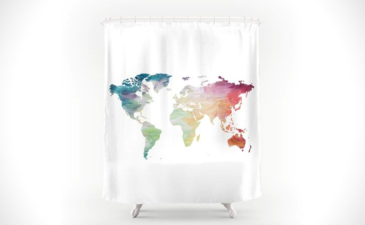 colorful world map shower curtain coolest shower curtains - Colorful Shower Curtains
