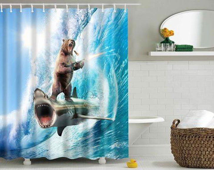 Crazy Bear and Shark Scene Shower Curtain