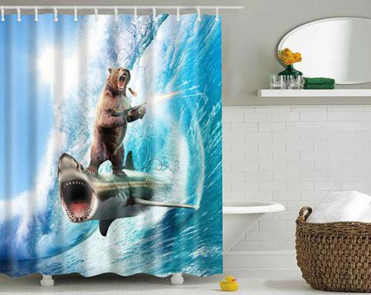 Crazy Bear and Shark Scene Shower Curtain