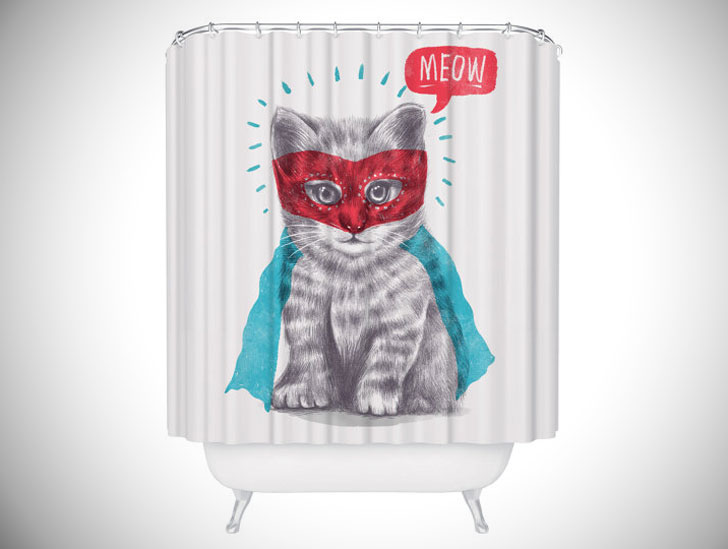 Cute Super Kitty Cat Shower Curtain   Unique Shower Curtains