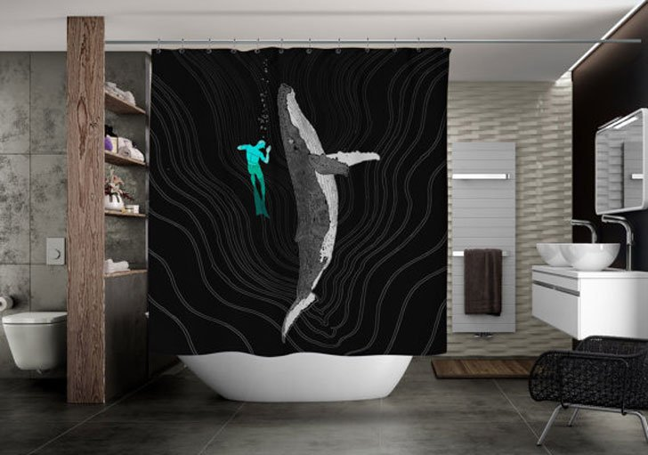 Diving Whale Shower Curtain