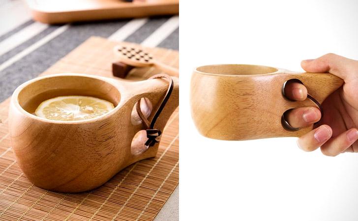 Ergonomic Wooden Coffee Mugs
