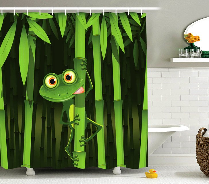 frog on bamboo coolest shower curtains