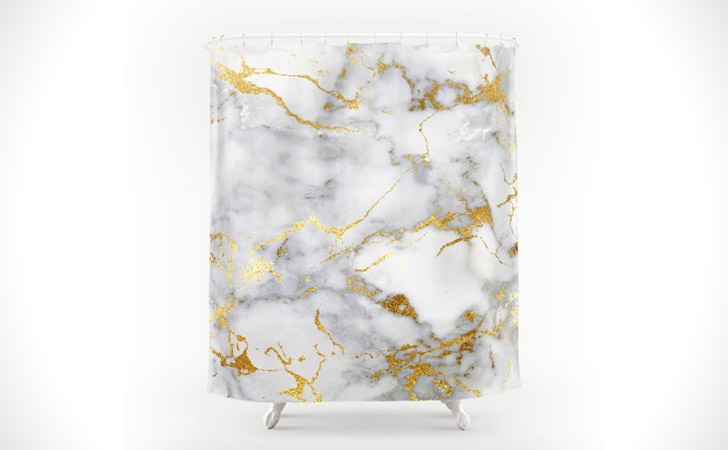 Gold And White Marble Shower Curtain
