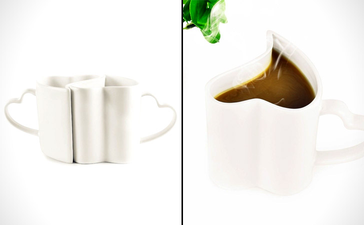 Interlocking Pair Of Heart Shaped Coffee Mugs