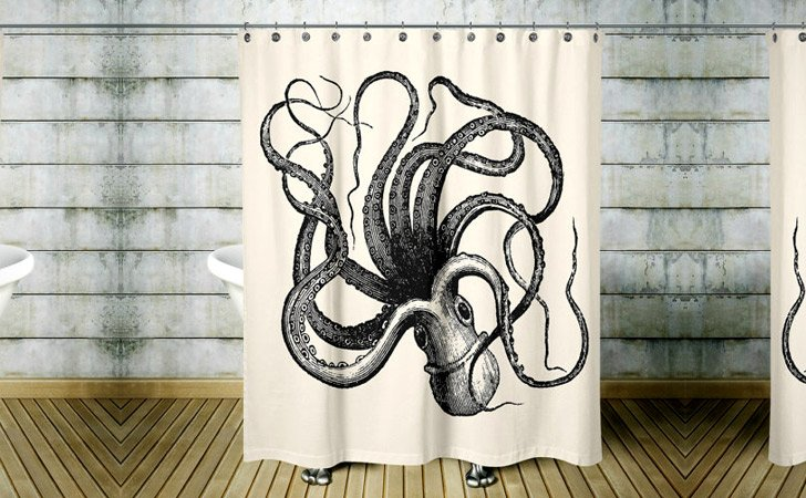 Ivory Black Octopus Shower Curtain