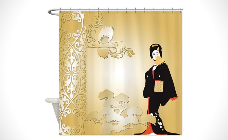 Japanese Woman Shower Curtain - coolest shower curtains
