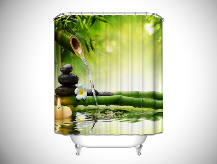 Jasmine Flower Green Bamboo Shower Curtain- unique shower curtains