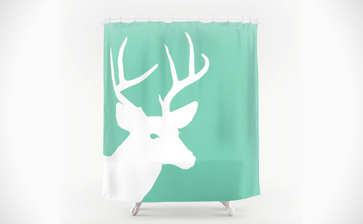 Lucite Green And White Deer Shower Curtain   Coolest Shower Curtains