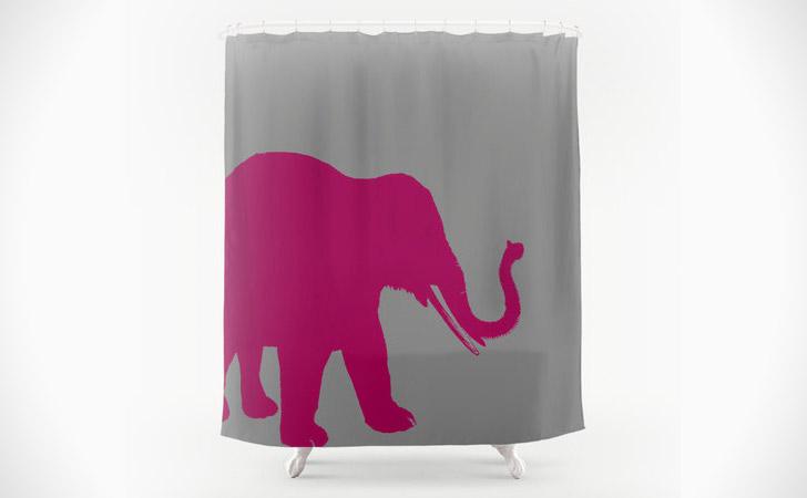 Magenta Elephant Shower Curtain