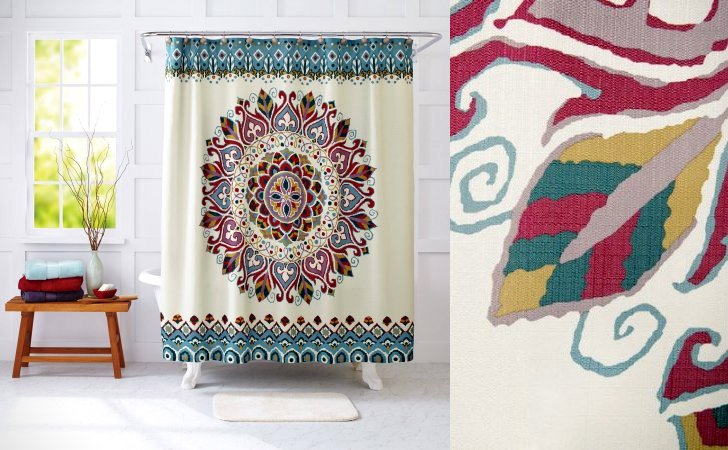 Medallion Fabric Shower Curtains