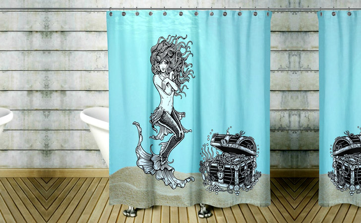 Mermaid And Treasure Chest Shower Curtains