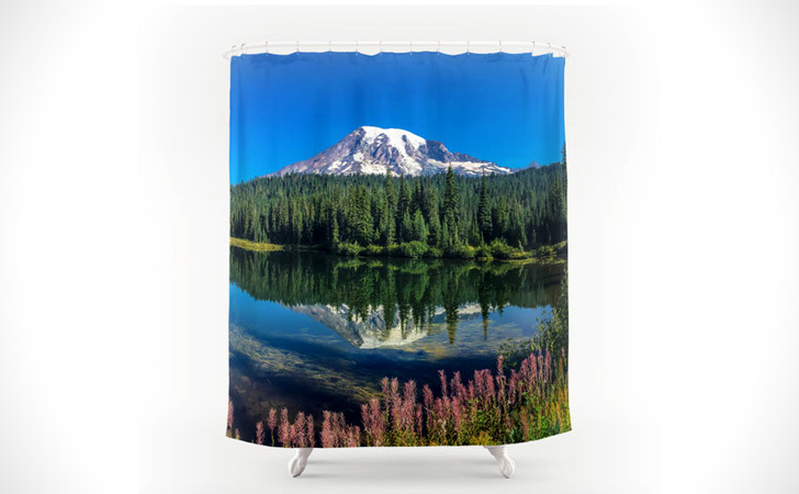 Mountain Lake Reflection Scene Shower Curtain