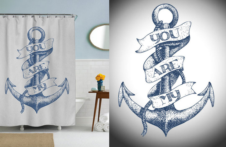 Nautical Anchor Shower Curtain