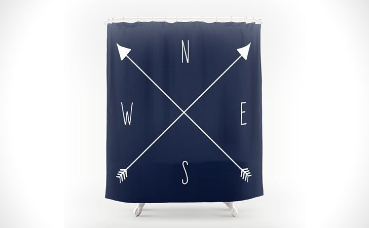 Nautical Compass Shower Curtain - coolest shower curtains