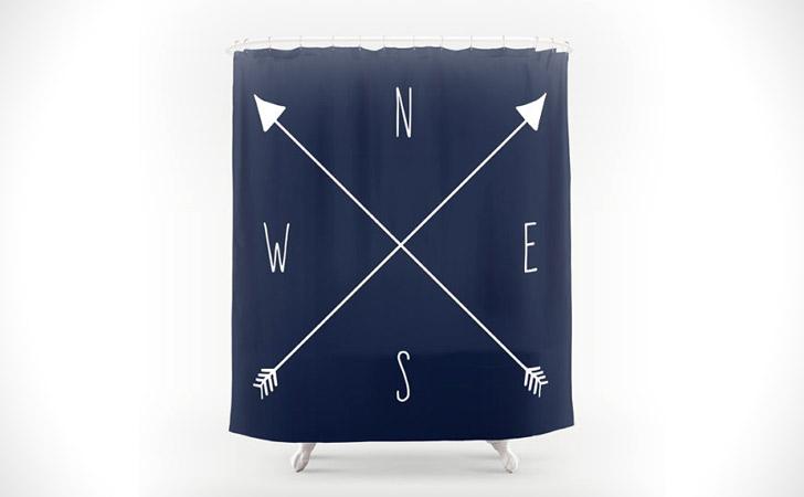 Nautical Compass Shower Curtain - coolest shower curtains