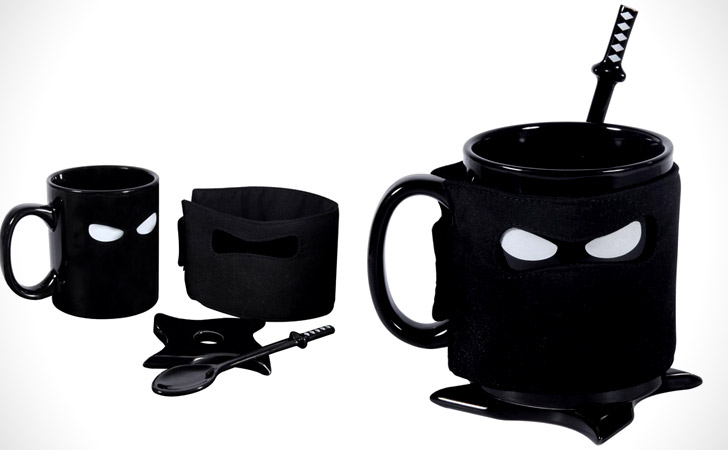 Ninja Mug With Samurai Spoon And Ninja Star Coaster