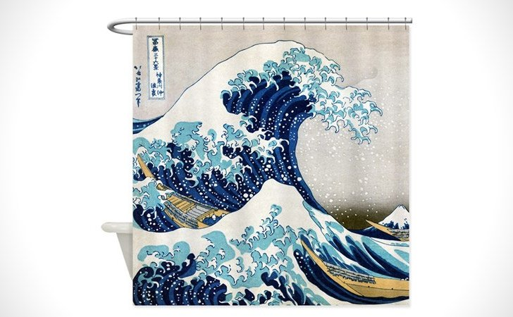 Oriental Hokusai Shower Curtain