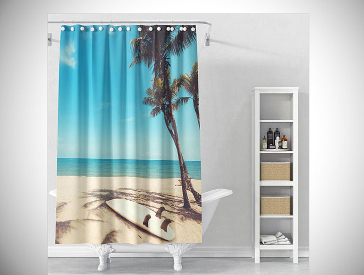 Palm Trees Beach Shower Curtain