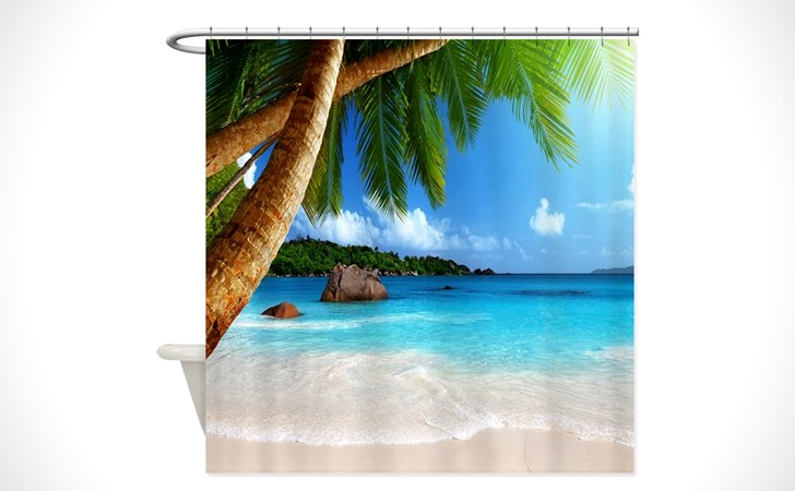 palm trees beach shower curtain