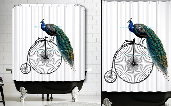 Peacock On A Unicycle Retro Shower Curtain