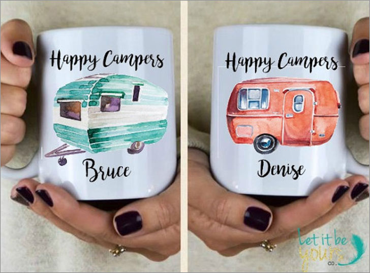 Personalised Happy Campers Couples Mugs