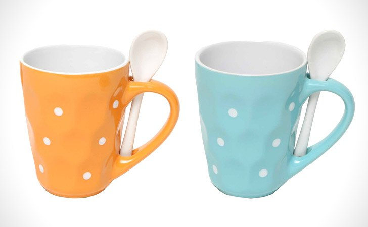 Polka Dot With Spoon Mugs