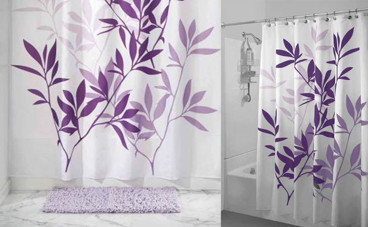 Purple Leaves Shower Curtain