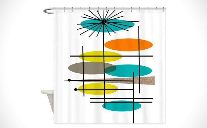 Retro Eames Inspired Shower Curtain - coolest shower curtains