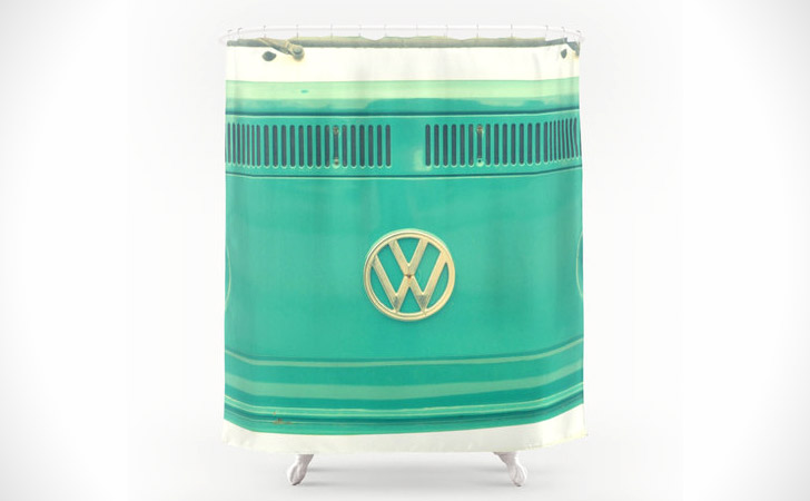 Retro Hippie Blue VW Bus Shower Curtain - coolest shower curtains