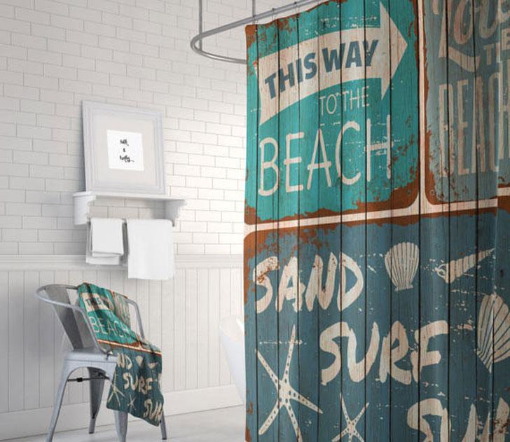 Rustic Beach Sign Shower Curtain