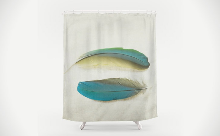 Rustic Feathers Shower Curtain - coolest shower curtains