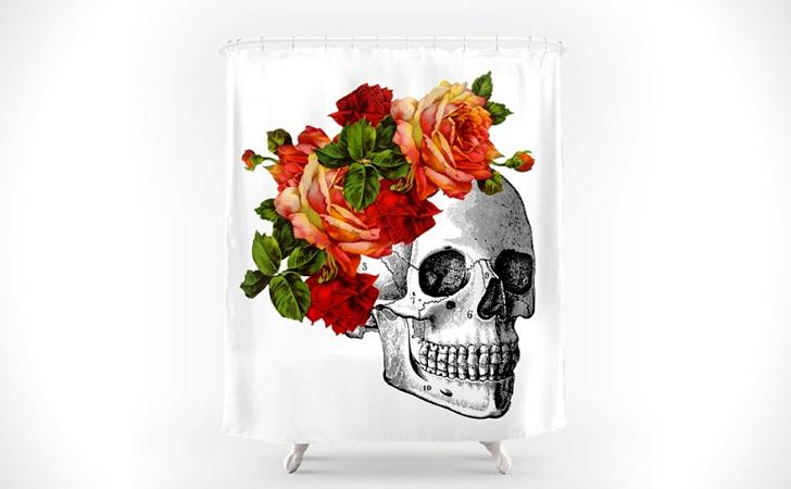 Skull & Roses Illustration Shower Curtain - coolest shower curtains