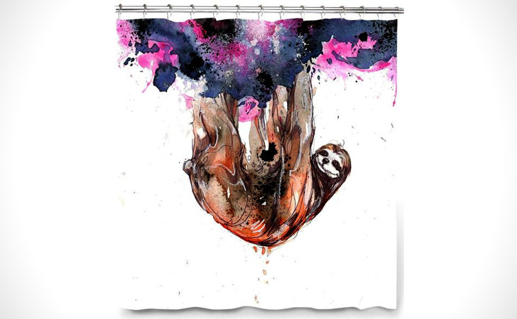 Sloth Animal Art Shower Curtain - coolest shower curtains