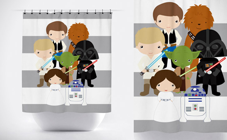 Star Wars Cartoon Characters Shower Curtain