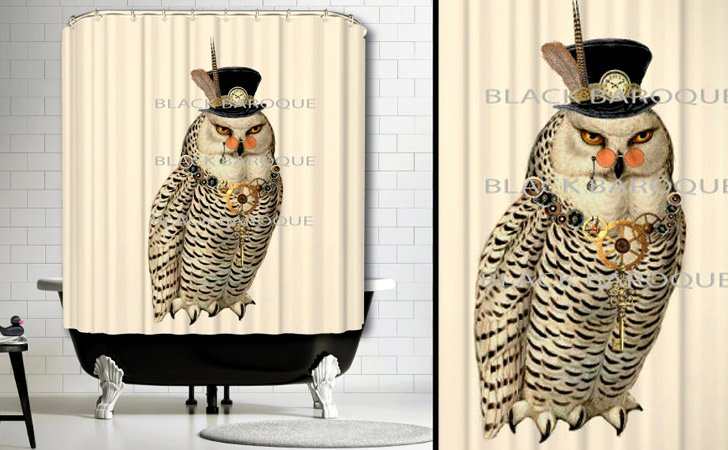 Steampunk Owl In A Top Hat Shower Curtain